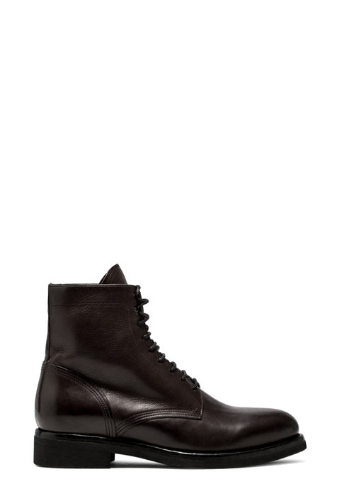 BUTTERO: TOM ANKLE BOOTS IN DARK BROWN WASHED LEATHER (B8540CUP-UG1/12)