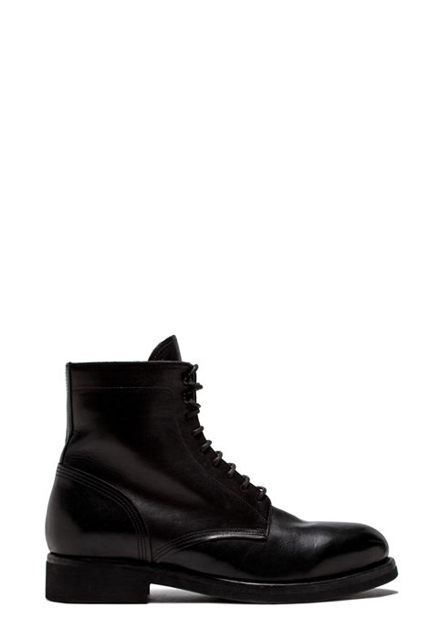 BUTTERO: TOM ANKLE BOOTS IN BLACK WASHED LEATHER