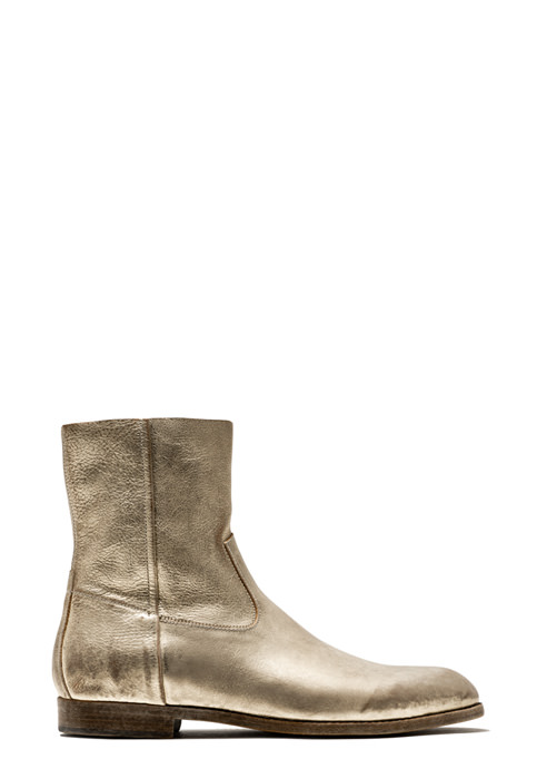 BUTTERO: PLATINUM LAMINATED LEATHER FLOYD ANKLE BOOTS