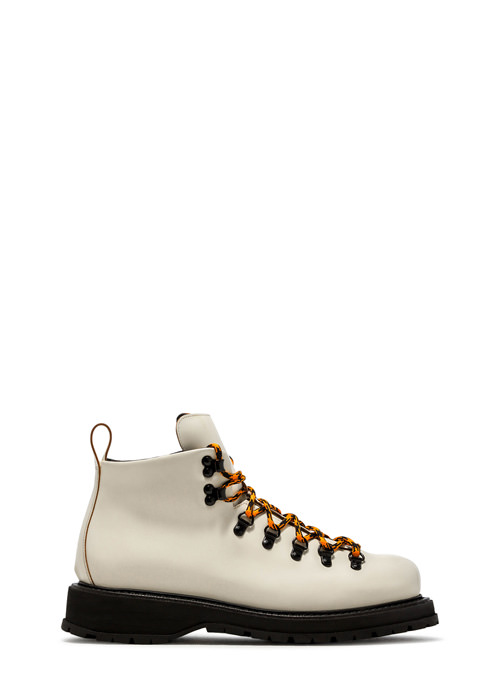 BUTTERO: ZENO HIKING BOOTS IN WHITE LEATHER