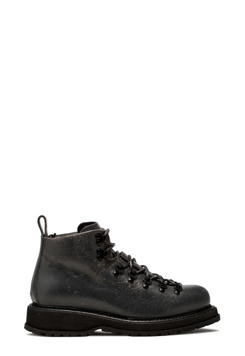 BUTTERO: ZENO HIKING BOOTS IN CRAQUELE EFFECT LEATHER COLOR ASHALT GREY