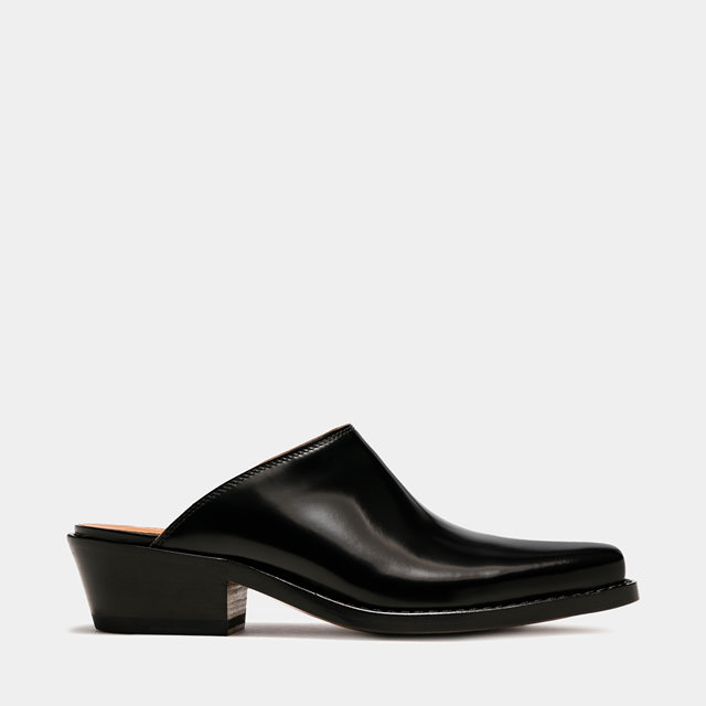 BUTTERO: DALTON MULES IN BLACK LEATHER (B9411ROA-DC1/01)