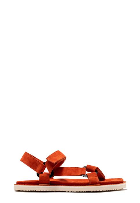 BUTTERO: PARROT ORANGE  SUEDE EL FUSO SANDALS WITH STRAPS
