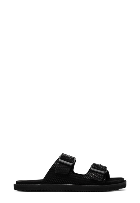 BUTTERO: BLACK PRINTED SUEDE EL FUSO SANDALS WITH BUCKLE (B8243VARB-UG1/B)