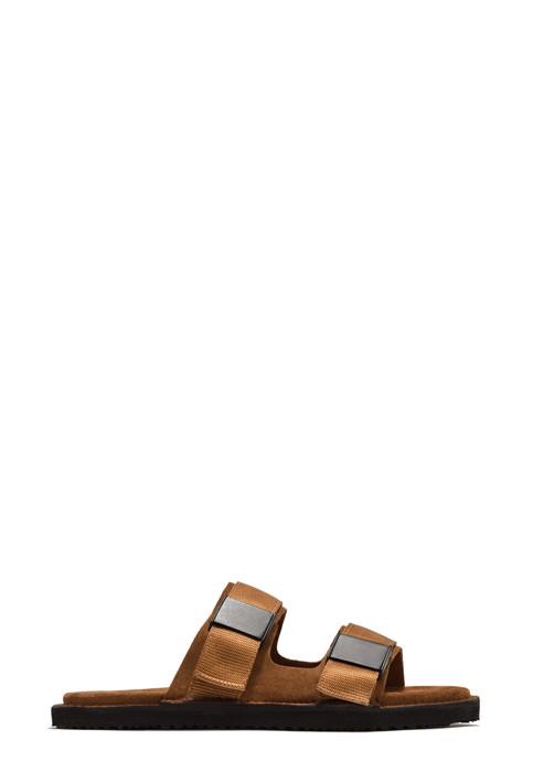 BUTTERO: EL FUSO SANDALS IN SIENNA BROWN SUEDE (B8872VARB-UG1/B)