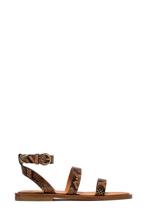 BUTTERO: VICKY SANDAL IN BRANDY COLOR PYTHON PRINT LEATHER (B9040DIA-DC1/05)
