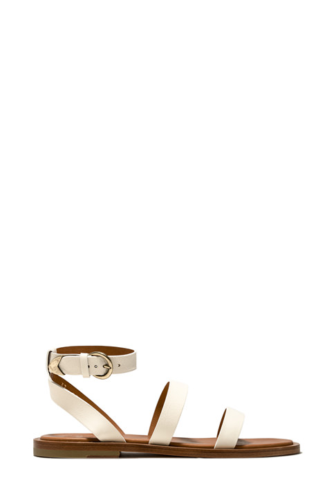 BUTTERO: VICKY SANDALS IN CREAM WHITE LEATHER (B9040DEL-DC1/03)