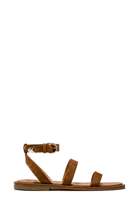 BUTTERO: VICKY SANDALS IN COGNAC SUEDE (B9040LIG-DC1/05)