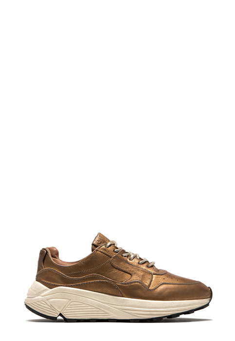 BUTTERO: VINCI SNEAKER IN GOLD TONE LAMINATED LEATHER (B8664BIB-DG1/10)