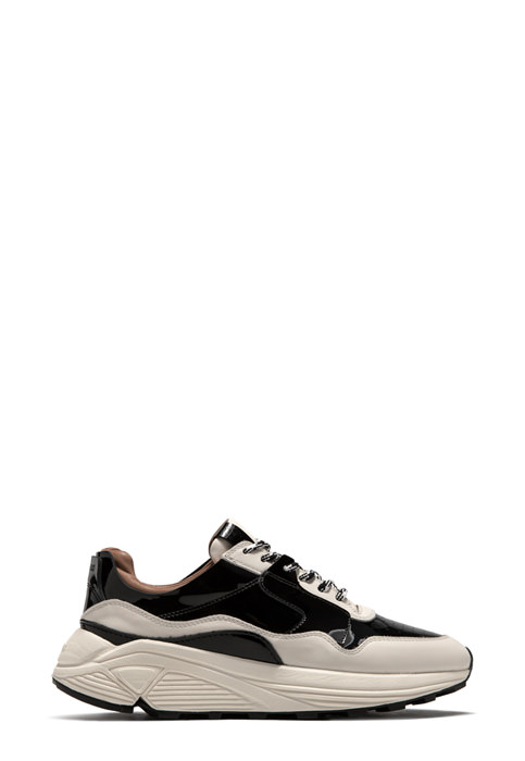 BUTTERO: VINCI SNEAKERS IN WHITE LEATHER WITH BLACK DETAILS (B8661VARA-DG1/A)