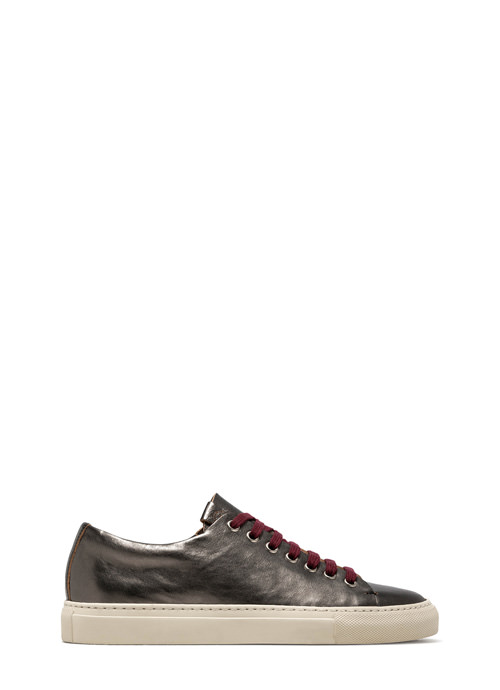 BUTTERO: TANINA LOW SNEAKERS IN GRAPHITE GREY LAMINATED LEATHER
