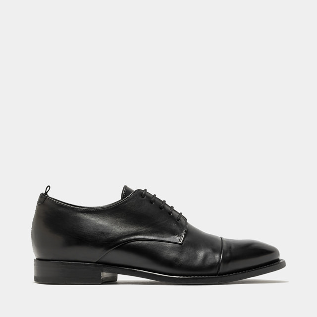 BUTTERO: BLACK LEATHER KINGSLEY LACE UP SHOES