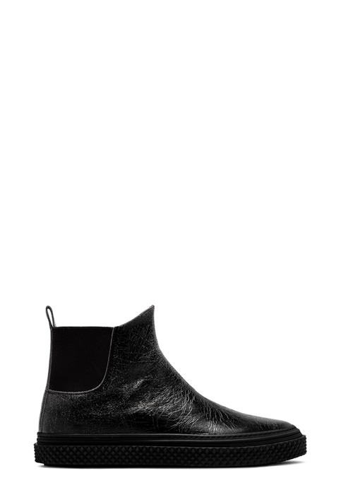 BUTTERO: BLACK LEATHER CRAQUELE' COLLODI CHELSEA BOOTS