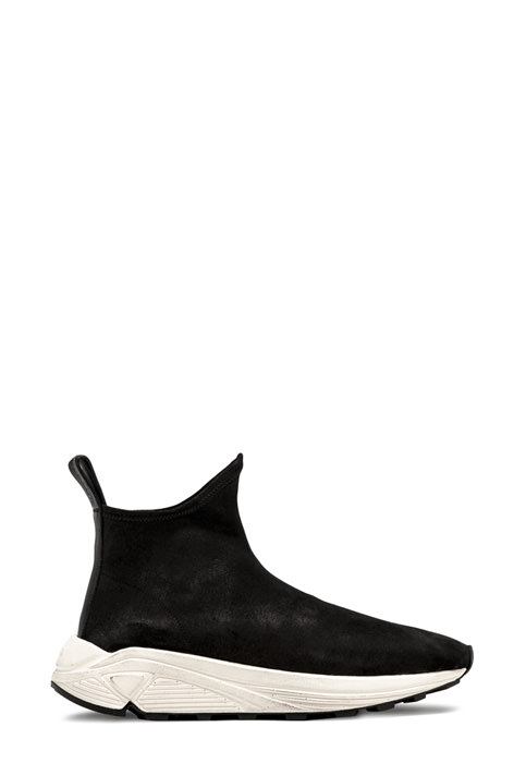 BUTTERO: VINCI SOCK SNEAKERS IN BLACK STRETCH BIANCHETTO LEATHER