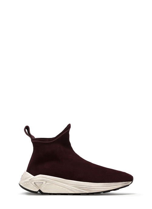 BUTTERO: VINCI SOCK SNEAKERS IN AMARONE STRETCH SUEDE