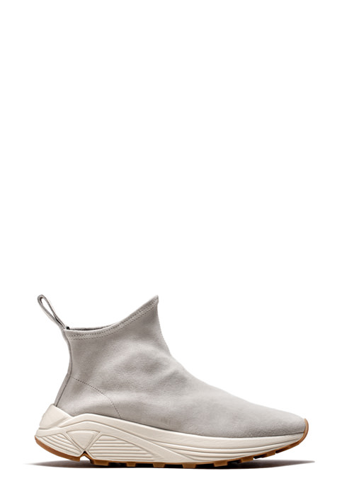 BUTTERO: WHITE VINCI SOCK SNEAKERS IN STRETCH SUEDE