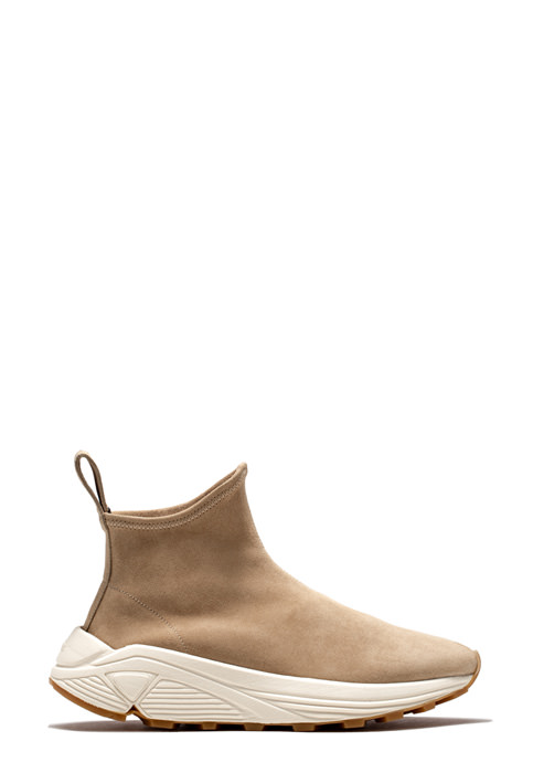 BUTTERO: CAPPUCCINO VINCI SOCK SNEAKERS IN STRETCH SUEDE