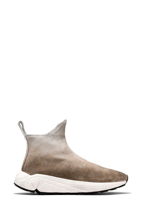 BUTTERO: SNEAKER A CALZINO VINCI IN SUEDE STRETCH DEGRADE' BIANCO/CAPPUCCINO/TERRA