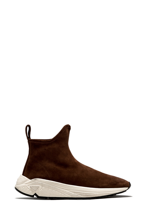 BUTTERO: VINCI SOCK SNEAKERS IN SNUFF BROWN STRETCH SUEDE