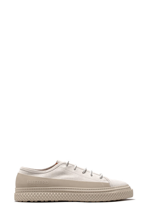 BUTTERO: LOW TOP BRIGATA SNEAKERS IN WHITE SUEDE