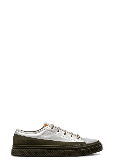 BUTTERO: BRIGATA SNEAKERS IN USED EFFECT SILVER LAMINATED LEATHER (B8830VARF-UG1/F)