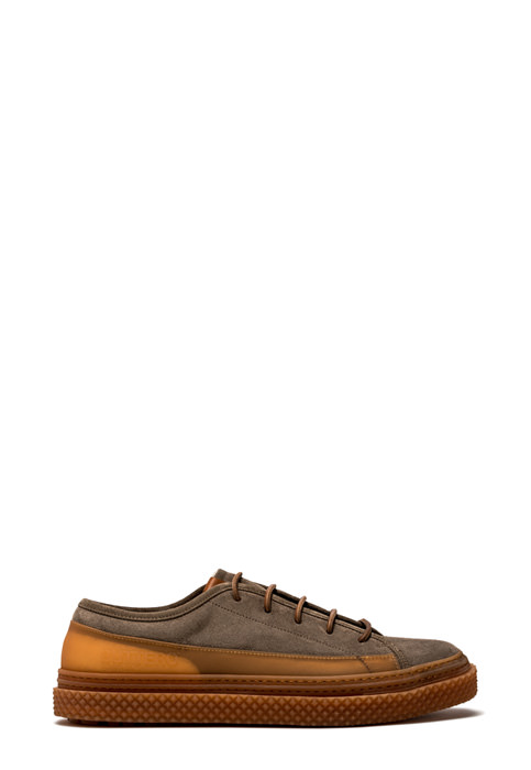BUTTERO: BRIGATA SNEAKERS IN TAUPE SUEDE