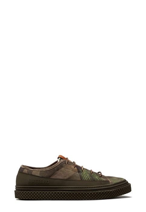 BUTTERO: BRIGATA SNEAKER IN HUNTER GREEN SUEDE WITH FLORAL PRINT (B8830VARB-UG1/B)