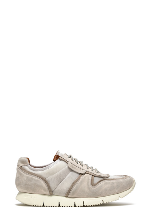 BUTTERO: SNEAKERS CARRERA IN NYLON MESH E SUEDE  BIANCO