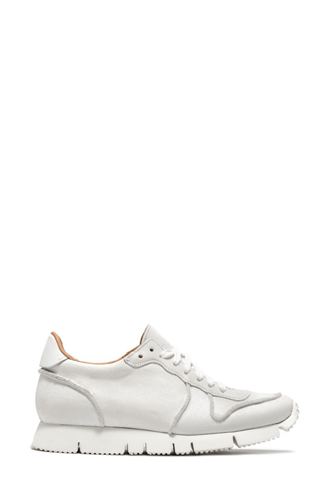 BUTTERO: WHITE BIANCHETTO LEATHER CARRERA SNEAKERS
