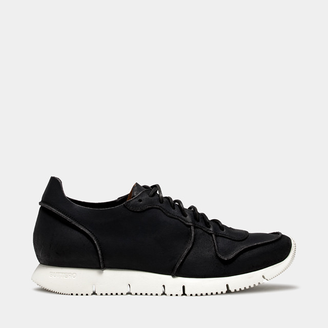 BUTTERO: CARRERA SNEAKERS IN BLACK BIANCHETTO LEATHER