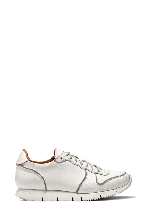 BUTTERO: WHITE CRAQUELE' LEATHER CARRERA SNEAKERS (B8011CRK-UG1/02)