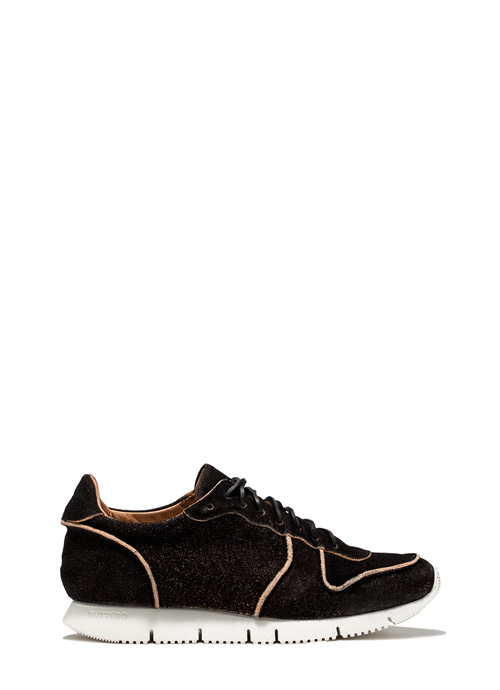 BUTTERO: CARRERA SNEAKERS IN BLACK MONKEY CALF LEATHER