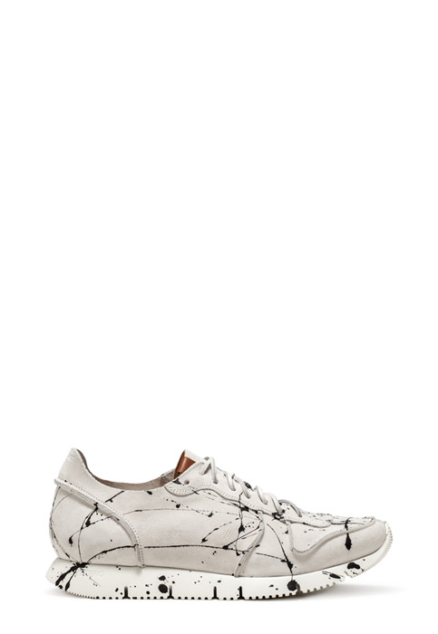 BUTTERO: WHITE SUEDE CARRERA SNEAKERS WITH PAINT SPLASHES (B8212VARA-UG1/A)