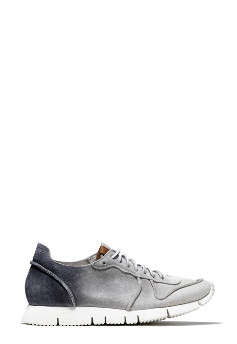 BUTTERO: WHITE/GRAY/BLACK DEGRADE' SUEDE CARRERA SNEAKERS (B8311VARB-DG1/B)