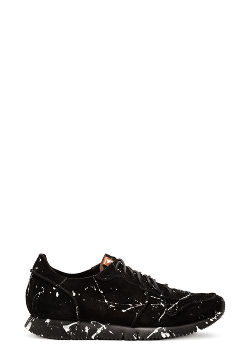 BUTTERO: BLACK SUEDE CARRERA SNEAKERS WITH PAINT SPLASHES (B8212VARB-UG1/B)