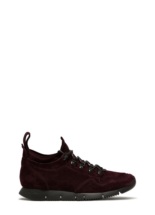 BUTTERO: CARRERA SOCK SNEAKERS IN AMARONE STRETCH SUEDE (B8010VARC-UG1/C)