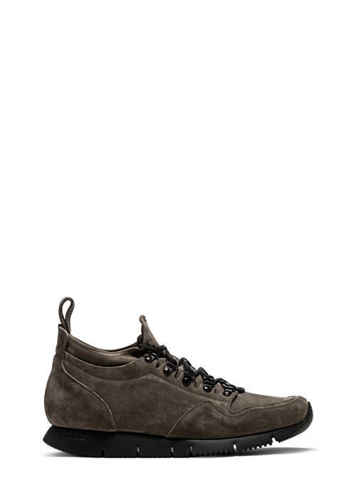 BUTTERO: CARRERA SOCK SNEAKERS IN FOREST GREEN STRETCH SUEDE (B8010VARB-UG1/B)