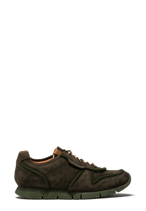 BUTTERO: CARRERA SNEAKERS IN GREEN SUEDE (B8820VARA-UG1/A)