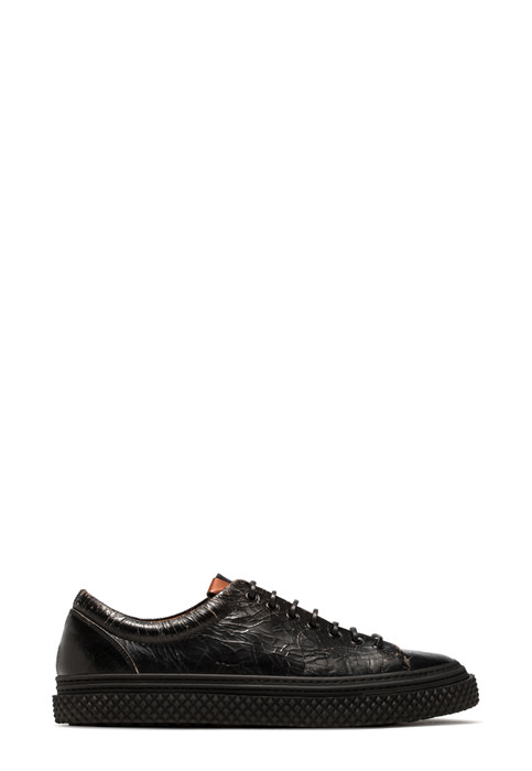 BUTTERO: COLLODI SNEAKERS IN CRACKLE EFFECT LEATHER COLOR BLACK (B8503CRK-UG1/01)