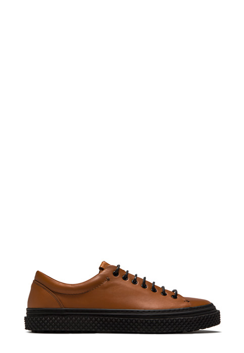 BUTTERO: COLLODI SNEAKERS IN NATURAL BROWN PULL EFFECT LEATHER (B8503BOWH-UG1/05N)