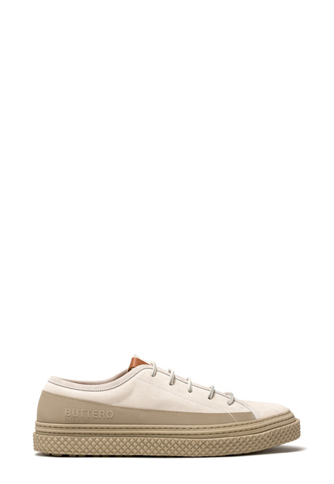 BUTTERO: BRIGATA SNEAKERS IN WHITE SUEDE
