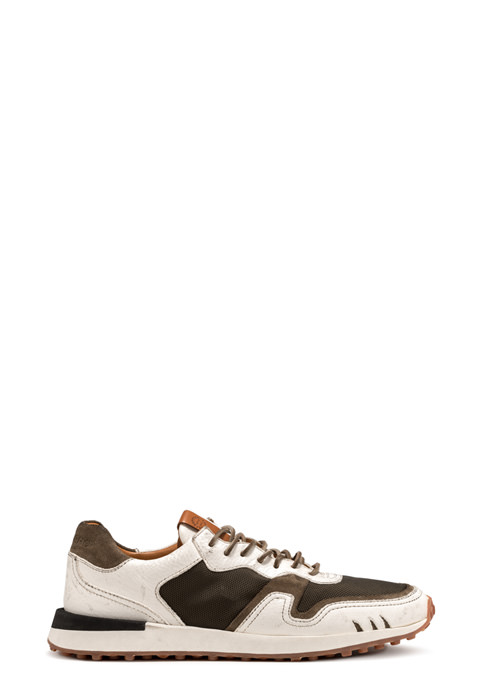 BUTTERO: FUTURA SNEAKER IN NATURAL LEATHER NYLON AND MESH (B9121VARB-UG1/B)
