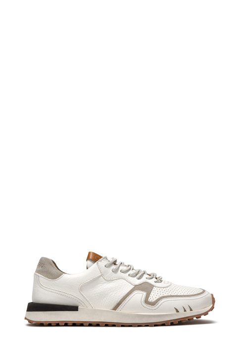 BUTTERO: FUTURA SNEAKERS IN USED EFFECT WHITE LEATHER