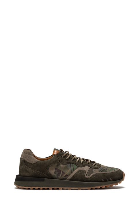 BUTTERO: FUTURA SNEAKERS IN HUNTER GREEN SUEDE WITH FLORAL PATTERN (B8811VARA-UG1/A)