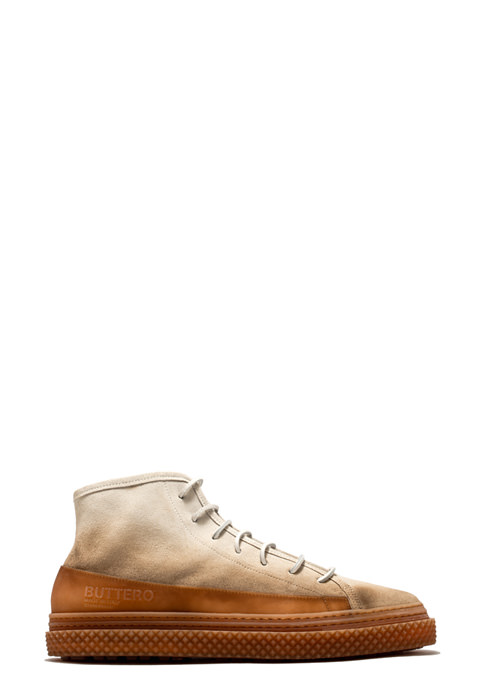 BUTTERO: SNEAKER MID BRIGATA IN SUEDE DEGRADE' BIANCO