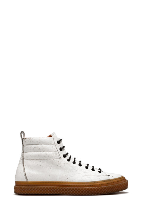 BUTTERO: WHITE CRAQUELE' LEATHER COLLODI MID SNEAKERS (B8501CRK-UG1/02)