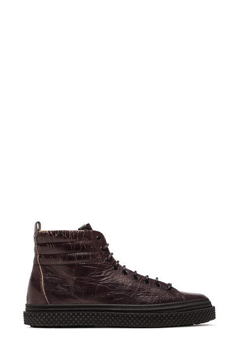 BUTTERO: MID COLLODI SNEAKERS IN CRACKLE EFFECT LEATHER COLOR DARK CHILE (B8501CRK-UG1/10)