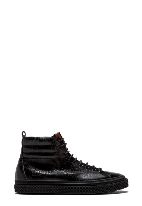 BUTTERO: BLACK CRAQUELE' LEATHER COLLODI MID SNEAKERS (B8501CRK-UG1/01)