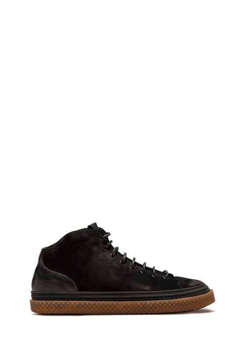 BUTTERO: SNEAKER MID COLLODI IN SUEDE NERO
