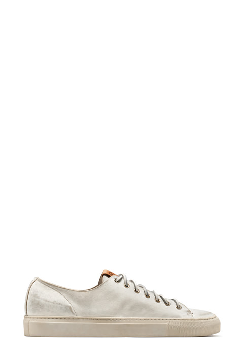 BUTTERO: WHITE USED EFFECT LEATHER TANINO LOW TOP SNEAKERS